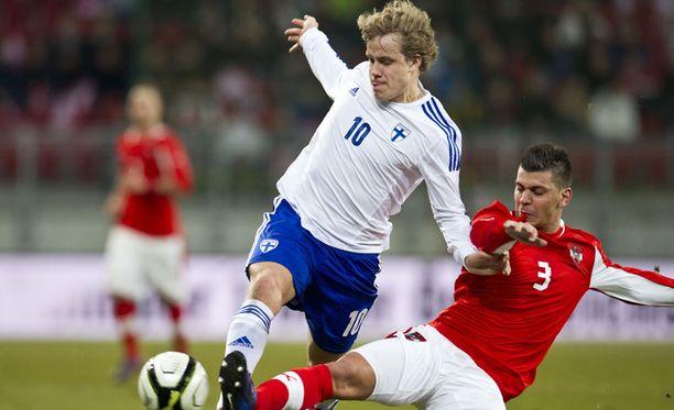Teemu Pukki väläytteli nopeuttaan Itävaltaa vastaan.