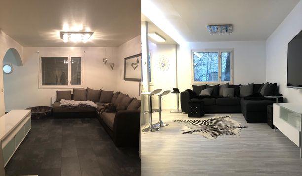 Uusi vastaan vanha olohuone sohvanurkkauksineen. Vanha tila oli koppimaisempi ja uusi tupakeittiö on valoisa ja avoin.