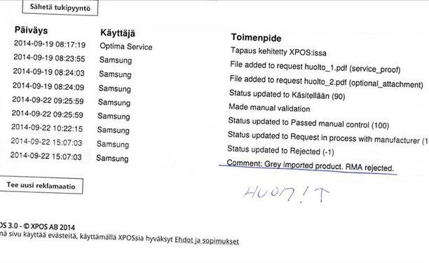 Optima Servicen tositteesta käy ilmi, että Samsung pitää puhelinta harmaatuotuna eikä kelpuuttanut takuuta.