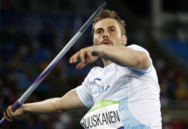 Antti Ruuskanen otti uransa ensimmäisen Pihtiputaan keihäskarnevaalien voiton. Arkistokuva.