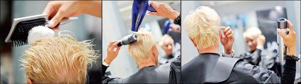 Muotovaahtoa voi lyhyisiinkin hiuksiin käyttää reilusti. Kampaus viimeistellään vahalla ja hiuskiinteellä.
