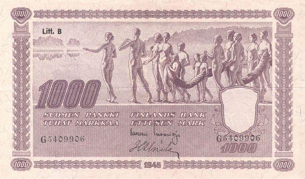 Eliel Saarisen setelit kuvasivat suomalaisia elinkeinoja, maataloutta ja teollisuutta. Hahmojen alastomuus herätti aikanaan erityistä huomiota.