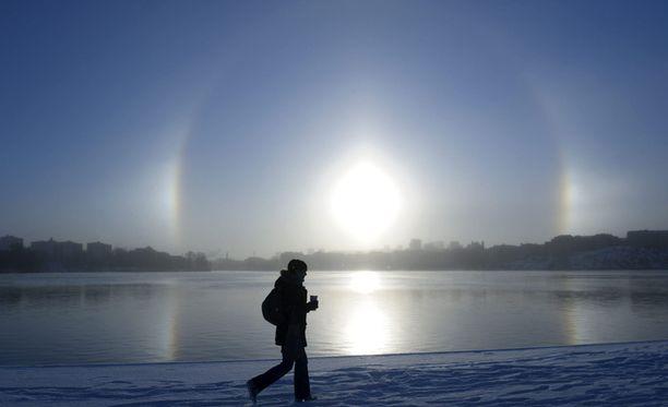 Näin upea halo-ilmiö kuvattiin Mälaren-järvellä Tukholmassa.