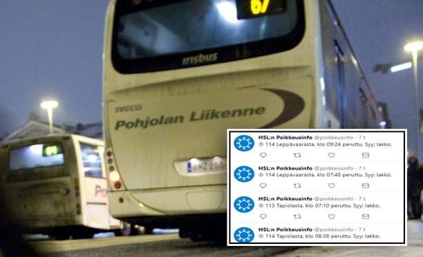 Pohjolan liikenteen kuljettajien lakko näkyy niin liikenteessä kuin Twitterissäkin.