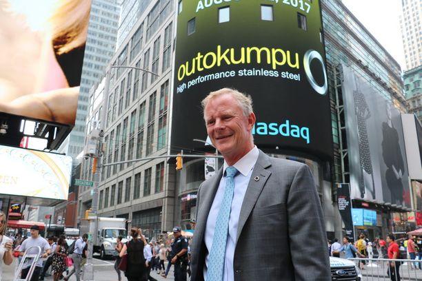 Outokummun toimitusjohtaja Roeland Baan kuvattuna New Yorkin Times Squarella viime elokuussa.