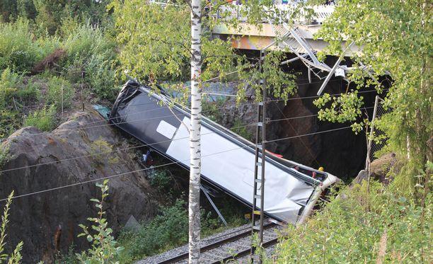 Bussi sinkoutui liki kymmenen metrin pudotuksen risteysalueelta junaraiteille.