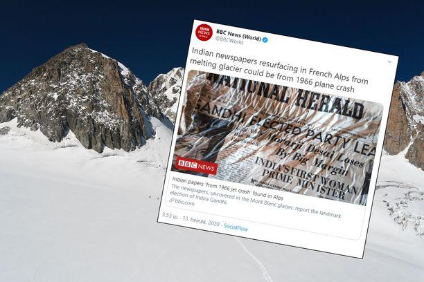 Lehdet löytyivät Mont Blancin sulavan jäätikön alta.