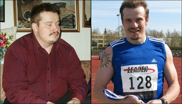 ENNEN JA JÄLKEEN Kärttyisästä miehestä tuli pirteä maratoonari.