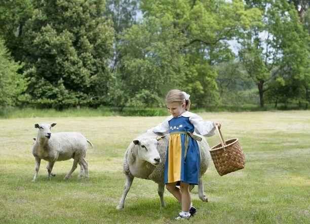 Eläinrakas Estelle pääsi tekemään tuttavuutta lampaiden kanssa.