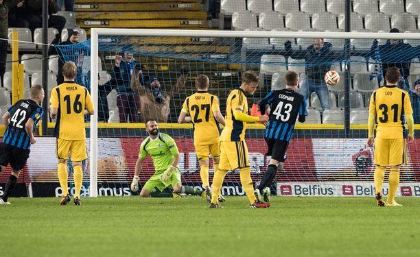 HJK joutui nöyrtymään kahdesti Bruggessa.