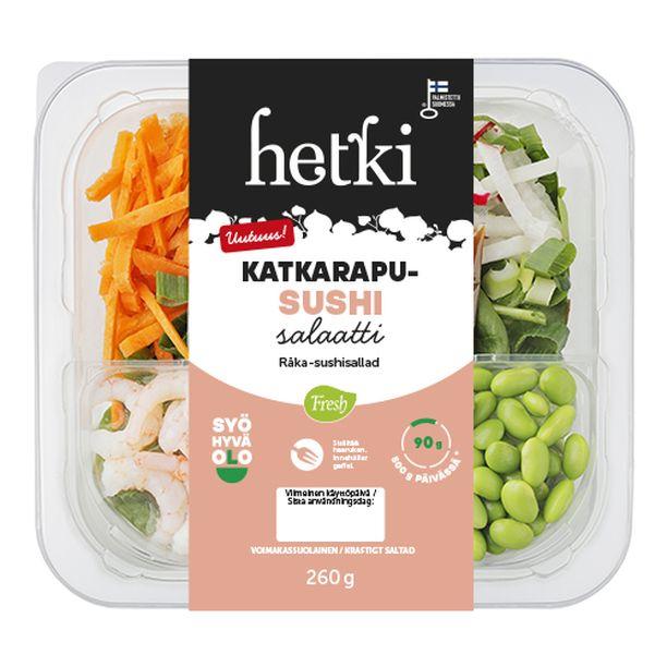 Katkarapu-sushisalaatilla on Syö hyvä olo-merkki, koska siinä on 90 g kasviksia. Sushisalaatti on myös hyvä proteiinin lähde.