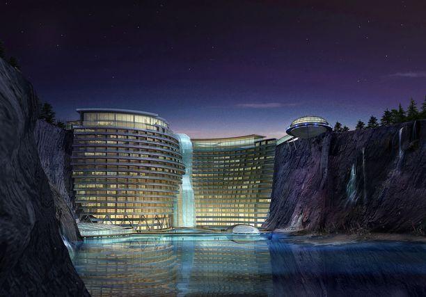 Havainnekuva Shanghain kupeessa pian avattavasti luksushotellista.