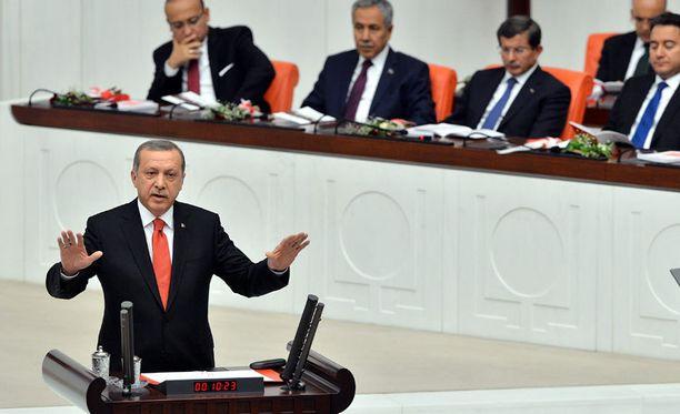 Presidentti Recep Tayyip Erdogan puhui parlamentissa keskiviikkona.