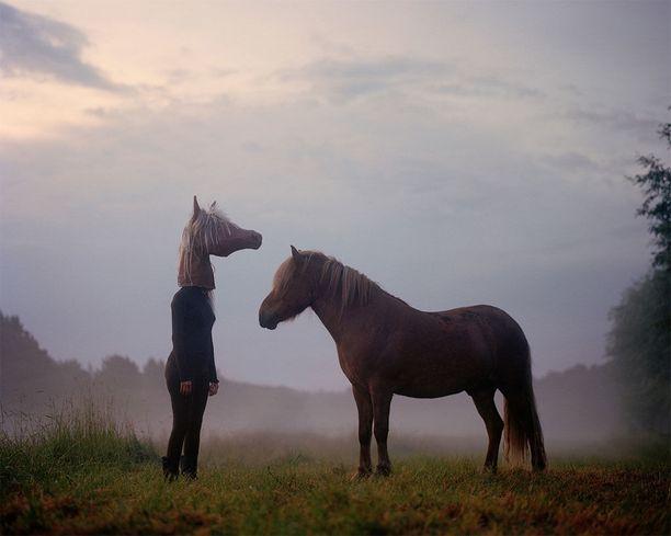 Jurmossa kesäaamun sumussa otetussa kuvassa islanninhevonen tuli uteliaana katsomaan taiteilijan hevosenpäähän pukeutunutta siskoa ja jäi siihen oleskelemaan. Teoksen nimi Mist.