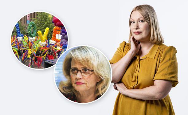 Päivi Räsästä (pieni kuva) epäillään kiihottamisesta kansanryhmää vastaan. Sanna Ukkola on Iltalehden kolumnisti.