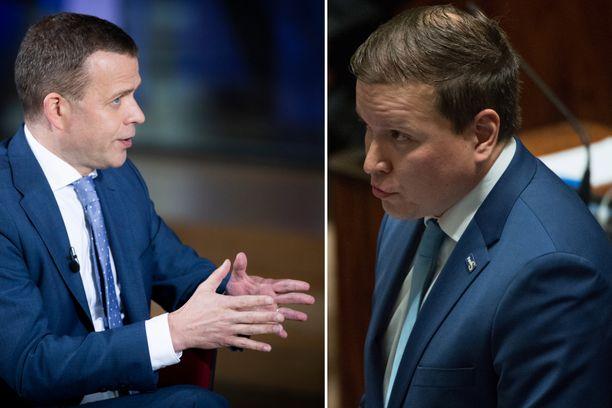 Kokoomuksen Petteri Orpo ja perussuomalaisten Ville Tavio kritisoivat hallituksen budjettiesitystä.