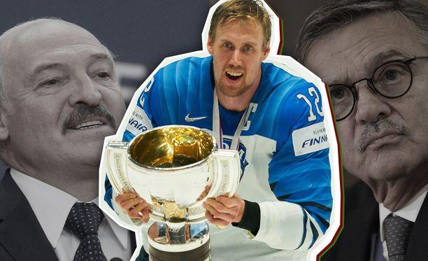 Suomi ei puolusta MM-kultaa Minskissä, vaikka Lukašenka ja Fasel tekivät kaikkensa Valko-Venäjän kisaisännyyden puolesta.