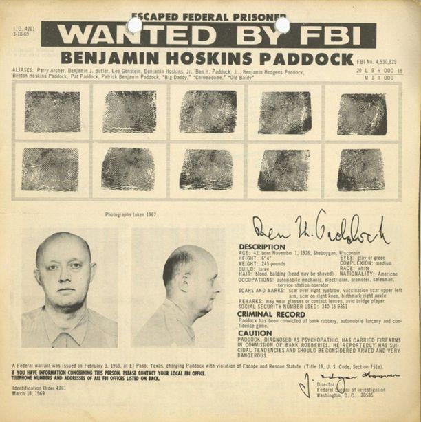 Vegasin ampujan isästä annettu FBI:n etsintäkuulutus.