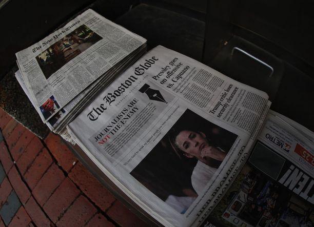 """Boston Globe julkaisi elokuun 16. päivänä useiden muiden medioiden tavoin vastauksen Trumpin jatkuviin hyökkäyksiin vapaata lehdistöä vastaan: """"Journalistit eivät ole ihmisten vihollisia""""."""