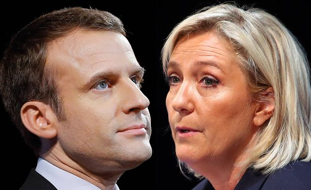 Toisella kierroksella presidentinvaaleissa kohtaavan Emmanuel Macron ja Marine Le Pen.