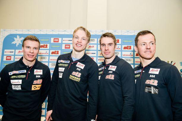 Matti Heikkinen (vas.), Iivo Niskanen, Lari Lehtonen ja Sami Jauhojärvi edustavat Suomen keskiviikkona 15 kilometrin kisassa.