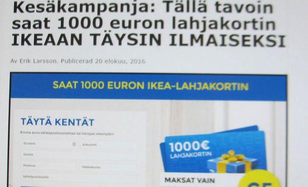 """Iltalehden nimissä levitettävä huijaus näyttää tältä. Huijausta on levitetty myös ruotsalaisen Aftonbladetin ja norjalaisen VG:n nimissä tehtyjen """"uutisten"""" avulla"""