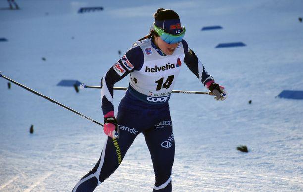 Krista Pärmäkoski oli viidestoista Tour de Skin kolmannella etapilla tiistaina Sveitsissä.