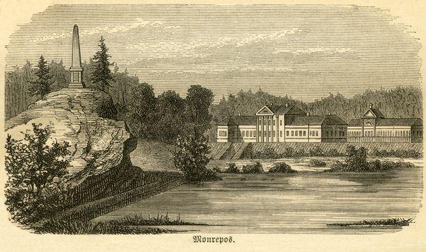 Historiallinen Monrepos'n kartano ja sitä ympäröivä puisto ovat olleet Viipurin tärkeimpiä nähtävyyksiä jo parinsadan vuoden ajan. Kuva vuodelta 1876,