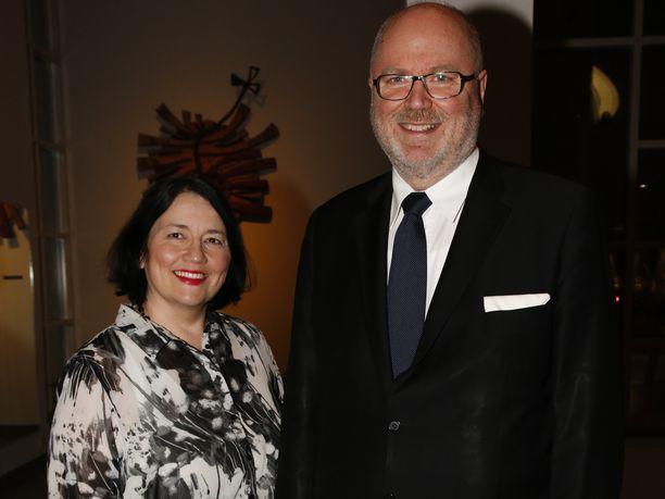 Ayla Shakir ja Eero Heinäluoma valtiopäivien avajaisissa Kansallisoopperassa viime helmikuussa.