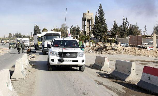 Avustusjärjestöt saivat helmikuussa toimittaa lääketarvikkeita Damaskoksen lähikaupunkiin Dumaan.