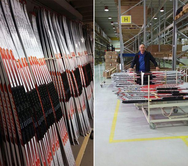 Maastohiihtoasiantuntija Pekka Kukkaniemi valitsi myytäväksi uusia vastaavia suksia Madhusin tehtaalta Norjasta. Seinäjoen Intersportissa on tällä hetkellä myynnissä noin 300 huippuhiihtäjien testaamaa tai käyttämää suksiparia.