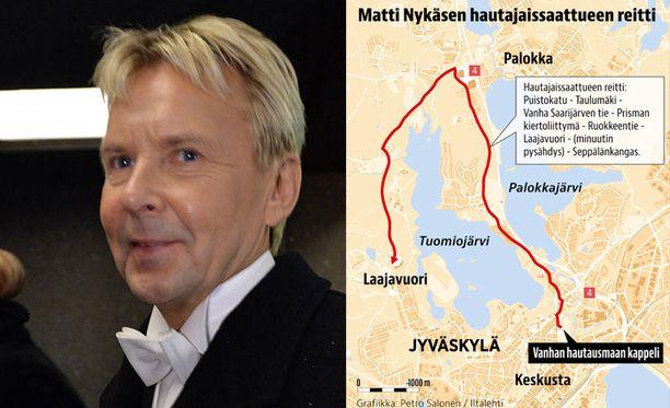 Matti Nykäsen hautajaissaattue matkaa Puistokatua pitkin kohti Laajavuorta, jossa pidetään minuutin pituinen hiljaisuus.