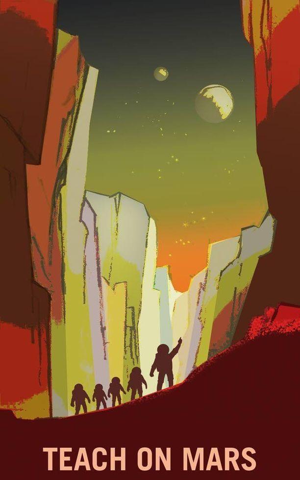 """Nasan sivuilla julkaistuissa kuvissa muistutetaan, että opimme erityisesti """"opettajasankareidemme"""" avulla esimerkiksi Marsista ja sen kahdesta kuusta Phobosista ja Deimoksesta."""