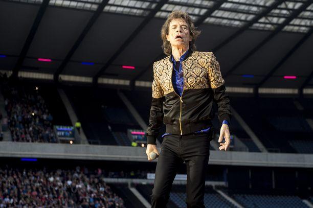 Mick Jagger lavalla Edinburghissa, Britanniassa vuonna 2018.