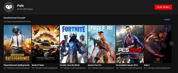 Youtubesta voi katsoa mm. suoria pelilähetyksiä.