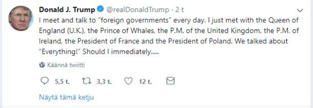 Trumpin alkuperäisessä tviitissä oli kiusallinen kirjoitusvirhe.
