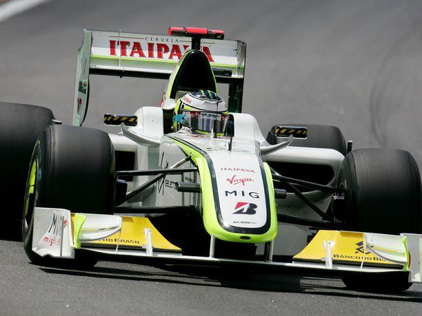 Tällä autolla Jenson Button voitti mestaruuden vuonna 2009.