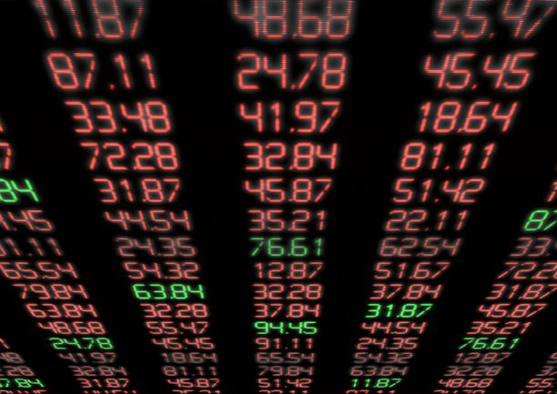 Stock Market - Red and Green Figures on Blue Display