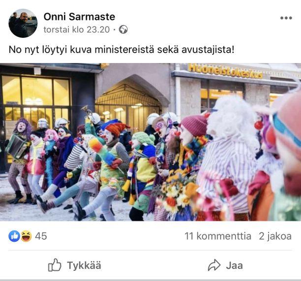 Onni Sarmasteen Facebook-päivitys 16.4.2020.