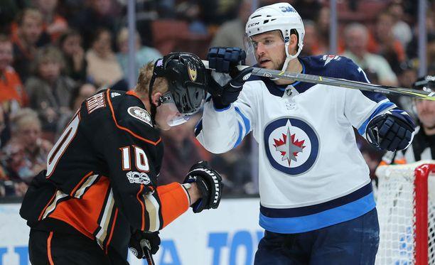 Winnipeg Jetsin Ben Chiarot iski Anaheim Ducksin Corey Perryä mailan päällä leukaan.