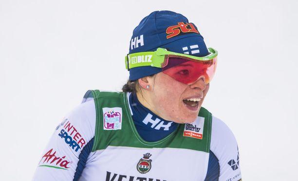 Krista Pärmäkoski oli 28:s Rukan perinteisen hiihtotavan kympillä.