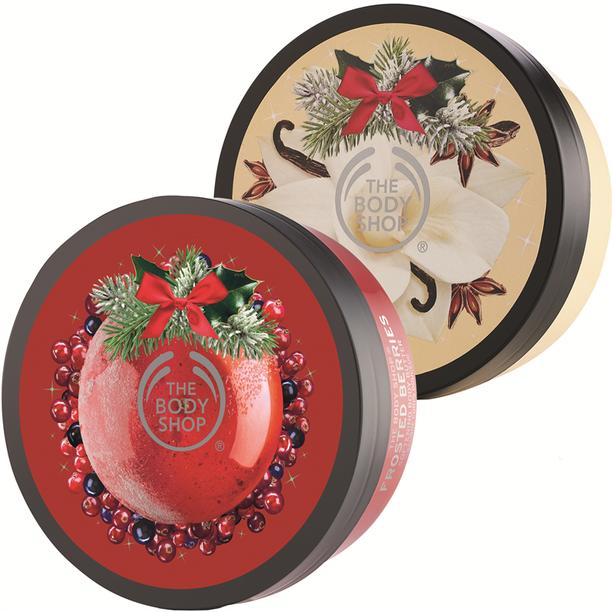 The Body Shopin jouluisia vartalovoita saa jo Cittarista! Sesongin tuoksuina on esimerkiksi vaniljaa, marjoja ja omenaa, 19,50 e