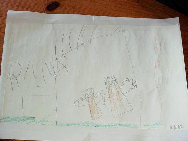 Tällaisen kuvan Riina lähetti pullopostissa.