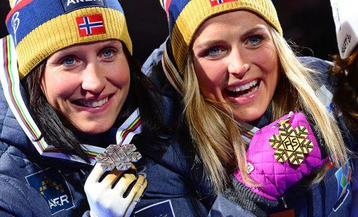 Marit Björgen ja Therese Johaug ovat hyviä ystäviä.