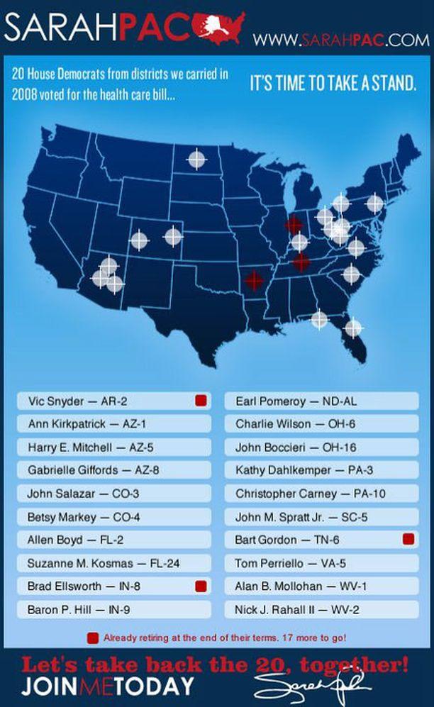 Sarah Palinin aggressiivinen kampanjajuliste poistettiin pian ampumisen jälkeen. Kuvan saat suuremmaksi klikkaamalla sitä.