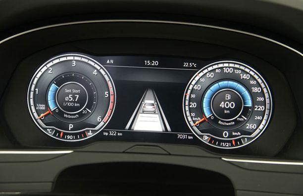 Ensi kertaa Volkswagenissa nähtävän digitaalisen mittariston sisältöä voi kukin omistaja muuttaa mieleisekseen.