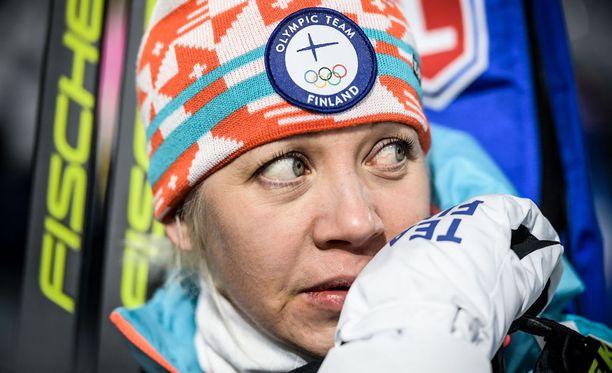 Kaisa Mäkäräinen oli maanantaina sijalla 22 naisten takaa-ajossa.