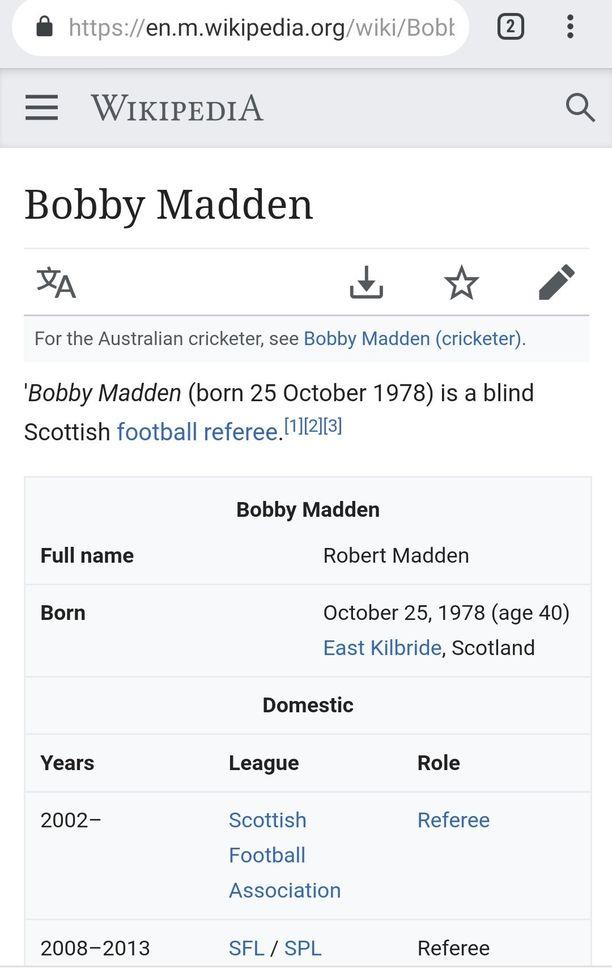 Tältä Bobby Maddenin Wikipedia-sivu näytti Suomi-Italia-ottelun jälkeen.