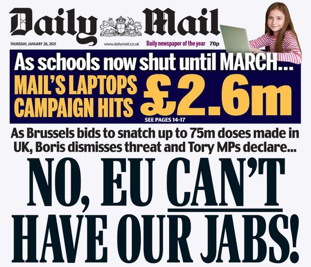 Daily Mail julistaa, että EU ei saa meidän rokotteitamme.