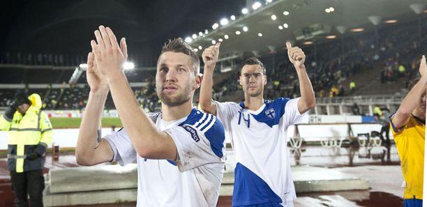 Joona Toivio (edessä) teki Suomen ainoan maalin.